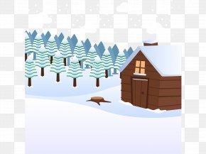 Vector Hand-drawn Cartoon Snow - Cartoon Snow Winter Log Cabin PNG