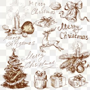 Sketch Christmas Decoration Elements - Christmas Tree Christmas Card Illustration PNG