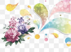 Peony Flower Color Pattern - Ink Wash Painting Download PNG