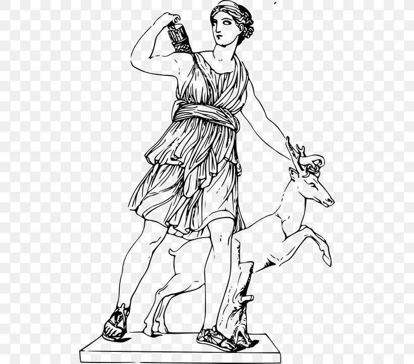 Artemis And The Stag Greek Mythology Drawing Goddess Png