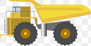 Yellow Cartoon Tractor - Tractor Drawing Cartoon PNG