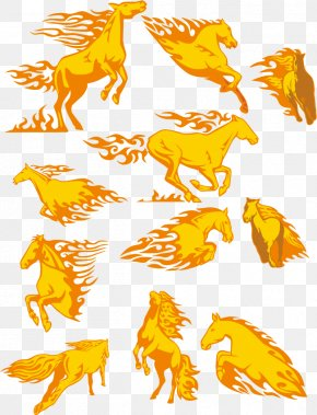 Golden Horse Car Stickers Vector - Horse Fire PNG