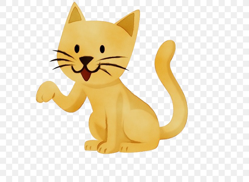 Animal Figure Cat Cartoon Yellow Small To Medium Sized Cats Png 600x600px Watercolor Animal Figure Cartoon