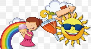 Children Summer Rainbow Drink - Animation Drawing Poster PNG