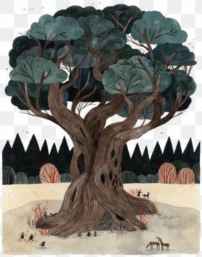 Banyan Tree Illustration - Tree Drawing Painting Banyan Illustration PNG