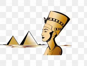 Vector Hand-painted Egyptian Pharaoh - Egyptian Pyramids Nefertiti Bust Ancient Egypt Pharaoh PNG
