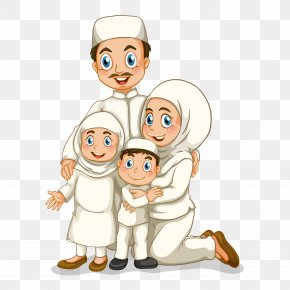 Vector Illustration Of Muslim Family Figures - Family Stock Photography Illustration PNG