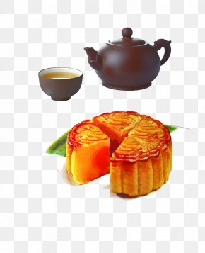 Afternoon Tea - Mooncake Salted Duck Egg Mid-Autumn Festival Traditional Chinese Holidays PNG