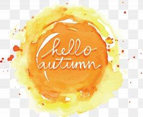 Orange Watercolor Hello Autumn - Icon PNG