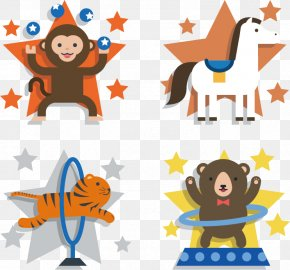 Cute Circus Animals Vector Material - Circus Clip Art PNG