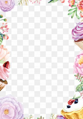Watercolor Flowers Background Border Cake - Watercolor Painting Flower Drawing PNG