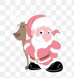 Santa Claus And Reindeer - Rudolph Santa Claus Reindeer Christmas PNG