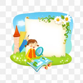 Vector Cartoon Images And Magnifying Glass - Borders And Frames Reading Book PNG