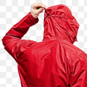 Coat Hoodie - Red Background PNG