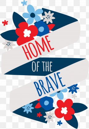 Cartoon Ribbon Folding Label - United States Independence Day E-card Memorial Day PNG
