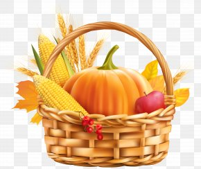 Autumn Harvest Basket Clipart Image - Thanksgiving Greeting Card Wish Birthday Public Holiday PNG