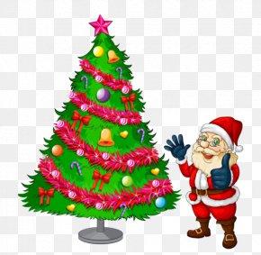 Santa Claus And Christmas Tree - Santa Claus Christmas Tree Clip Art PNG