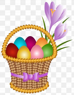 Easter Egg Basket Transparent Clip Art Image - Easter Bunny Egg In The Basket Easter Egg Clip Art PNG