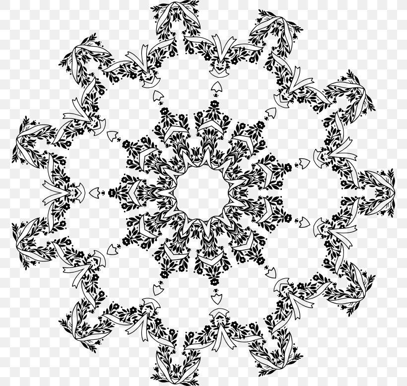 Floral Design Icon Design Clip Art, PNG, 774x778px, Floral Design, Area, Black And White, Decorative Arts, Doily Download Free