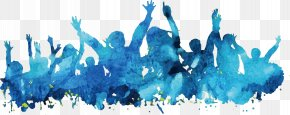 People Blue Watercolor Poster Background Material - Watercolor Painting Poster Blue PNG