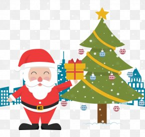 Santa Claus Holding A Gift - Rudolph Santa Claus Christmas Tree Gift PNG