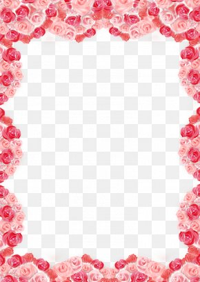 Rose Border - Heart Rose Valentines Day Love Poster PNG