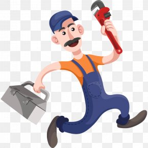 Hand-painted Cartoon Hat Repairman Wrench Toolbox - Plumber Plumbing Toilet Clip Art PNG