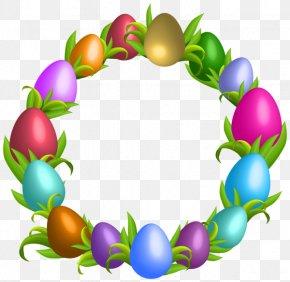 Easter Egg Wreath - Easter Bunny Easter Egg Wreath Clip Art PNG