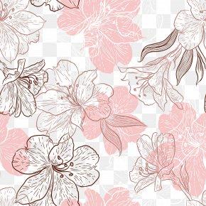 Hand Painted Pink Flowers Leaves - Flower Leaf Pink Petal PNG