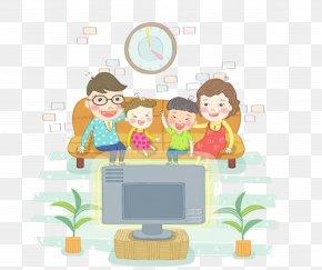 Cartoon Fun Family Watching TV - Children & Television Cartoon Illustration PNG