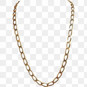 Necklace - Figaro Chain Necklace Colored Gold PNG