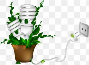 Vector Energy Saving Light Bulbs In Pots - Energy Conservation Compact Fluorescent Lamp Solar Energy PNG