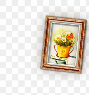 Cute Style Frame Brown Butterfly Flower Pot - Picture Frame Mirror Clip Art PNG