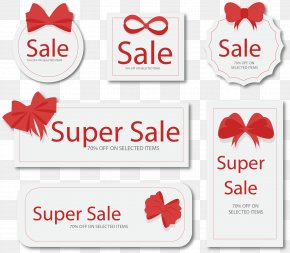 Vector Painted Red Bow Tag - Red Euclidean Vector Vecteur PNG