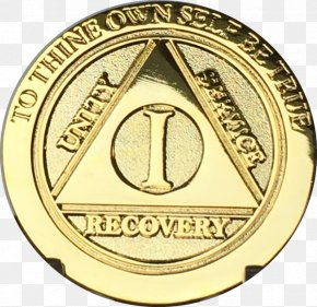 Gold - Gold Medal Alcoholics Anonymous Sobriety Coin Serenity Prayer PNG