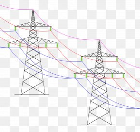 Overhead Power Line Drawing Electricity Transmission Tower PNG