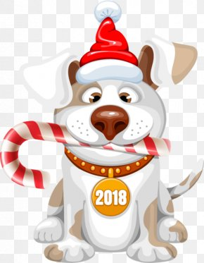 2018 Adorable Dogs - Dog New Year Christmas Clip Art PNG