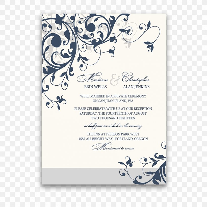 Wedding Invitation Template White Black Png 900x900px