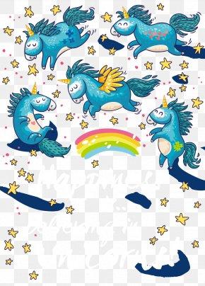 Cartoon Unicorn Vector Material - Unicorn Illustration PNG
