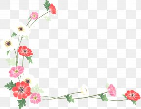 Flower Border - Borders And Frames Flower Watercolor Painting Clip Art PNG