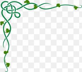 Shamrock Corner Cliparts - Vine Celtic Knot Clip Art PNG