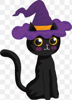 Lovely Halloween Black Cat - Black Cat Halloween Witch PNG