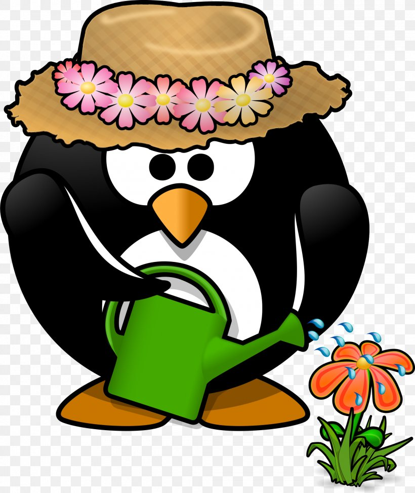 Penguin Gardening Watering Can Clip Art, PNG, 2022x2400px, Penguin, Artwork, Beak, Bench, Bird Download Free