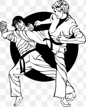 Vector Karate Sparring Two Foreigners - Karate Martial Arts Combat Sport PNG