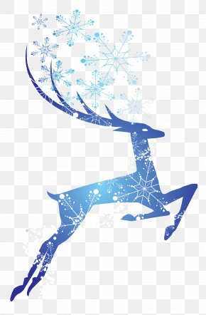 Christmas Sika Deer - Text Graphic Design Blue Illustration PNG