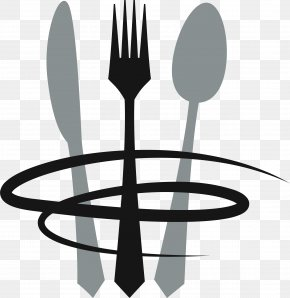 Gray Knife And Fork Circle - Cafe Italian Cuisine Fast Food Restaurant Logo PNG