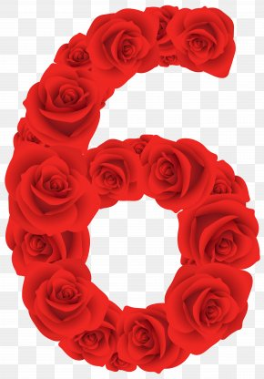 Red Roses Number Six Clipart Image - Rose Red Clip Art PNG