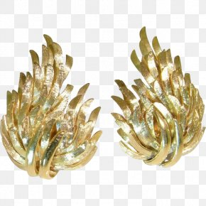 Gold Leaf - Earring 1950s Jewellery Gold Vintage Clothing PNG