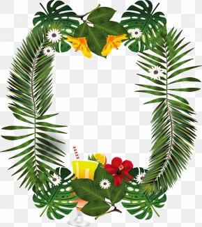Palm Leaves Decorated Borders - Leaf Palm Branch PNG