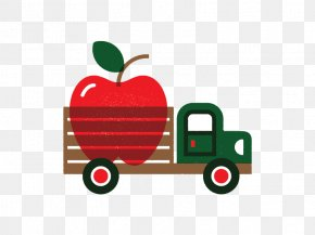 Small Truck Filled With Apple - Truck Illustration PNG